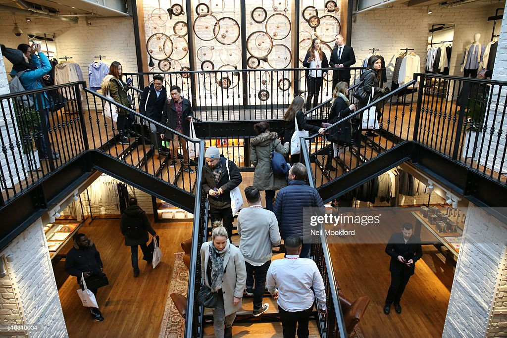 A general view as UNIQLO 311 Oxford Street Store opens to the public on March 18 2016 in London England
