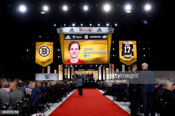 A general view as Urho Vaakanainen is selected 18th overall by the Boston Bruins during the 2017 NHL Draft at the United Center on June 23 2017 in...