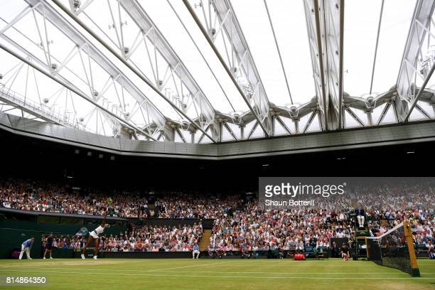 A general view as Venus Williams of The United States serves under the closed centre court roof during the Ladies Singles final against Garbine...