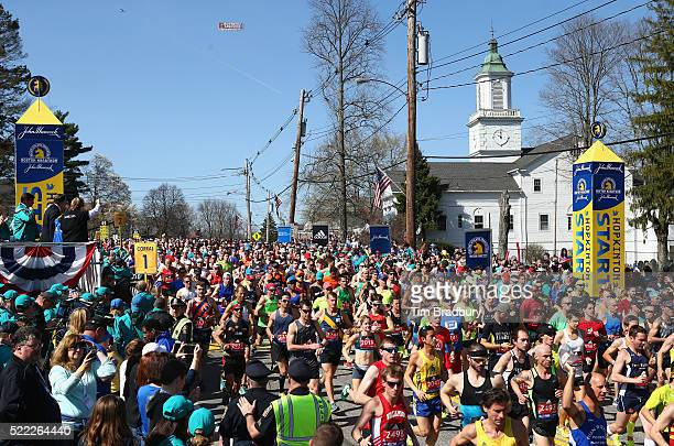 A general view as Wave One runners start the 120th Boston Marathon on April 18 2016 in Hopkinton Massachusetts