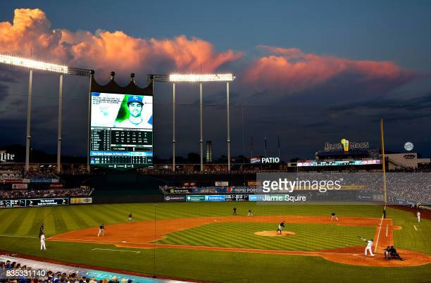 A general view as Whit Merrifield of the Kansas City Royals connects during the 3rd inning of the game between the Cleveland Indians and the Kansas...
