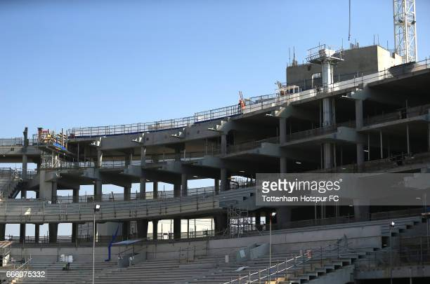 A general view as work goes on towards the new stadium prior to the Premier League match between Tottenham Hotspur and Watford at White Hart Lane on...