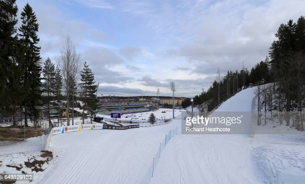 A general view as workers make preparations ahead of the FIS Nordic World Ski Championships on February 20 2017 in Lahti Finland
