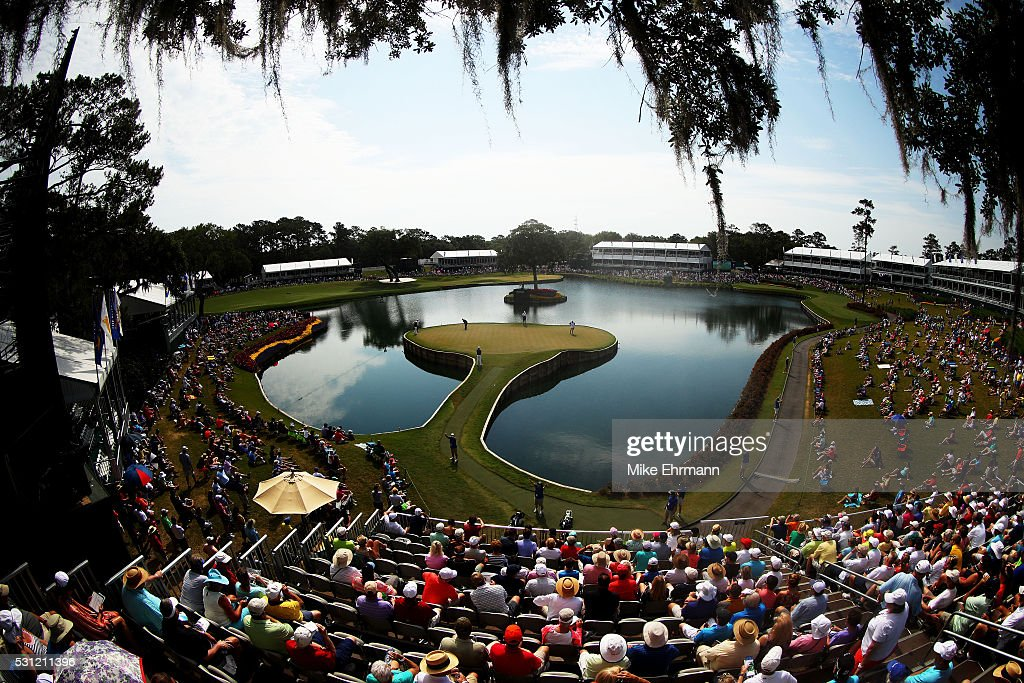 A general view as Zach Johnson of the United States Sergio Garcia of Spain and Patrick Reed of the United States play on the 17th hole during the...