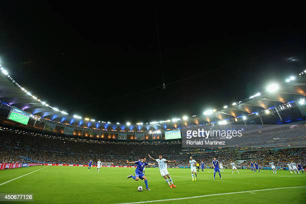 A general view as Zvjezdan Misimovic of Bosnia and Herzegovina controls the ball during the 2014 FIFA World Cup Brazil Group F match between...
