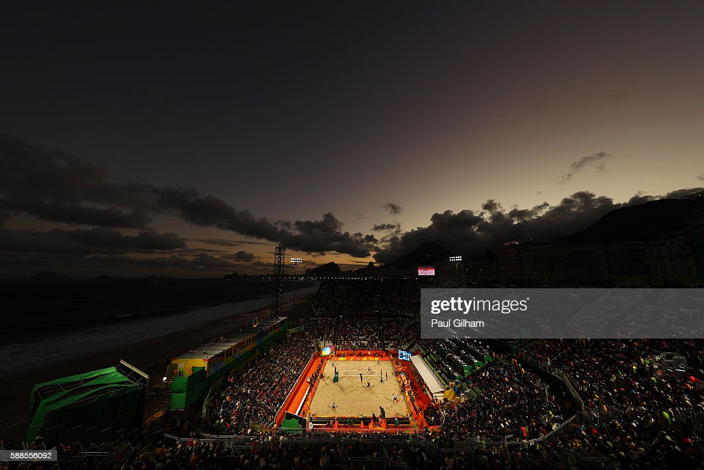 A general view at dusk as Phil Dalhausser and Nicholas Lucena of United States play against Paolo Nicolai and Daniele Lupo of Italy during the Beach Volleyball - Men's Preliminary - Pool C , Match 33 on Day 6 of the Rio 2016 Olympics at the Beach Volleyball Arena on August 11, 2016 in Rio de Janeiro, Brazil.
