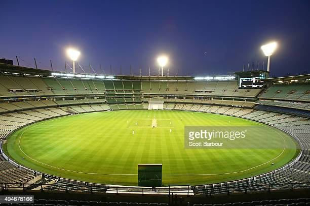 A general view at dusk during day one of the Sheffield Shield match between Victoria and Queensland at Melbourne Cricket Ground on October 28 2015 in...