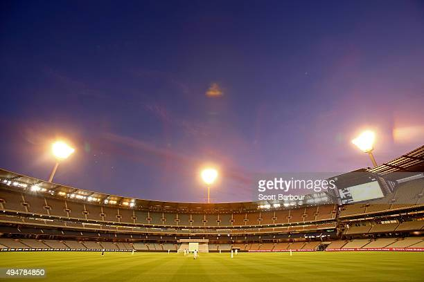 A general view at dusk during day two of the Sheffield Shield match between Victoria and Queensland at Melbourne Cricket Ground on October 29 2015 in...
