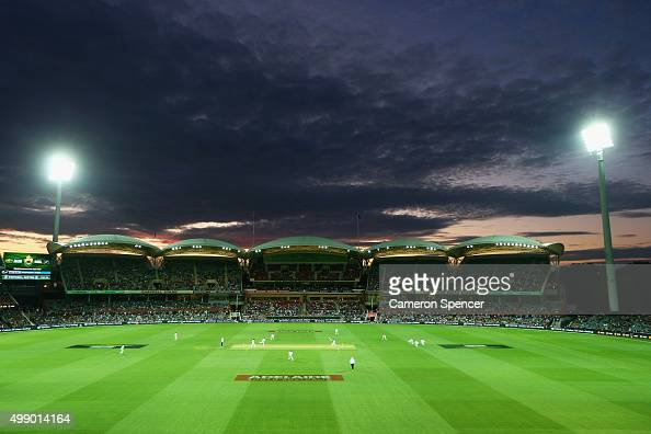A general view at dusk during day two of the Third Test match between Australia and New Zealand at Adelaide Oval on November 28 2015 in Adelaide...