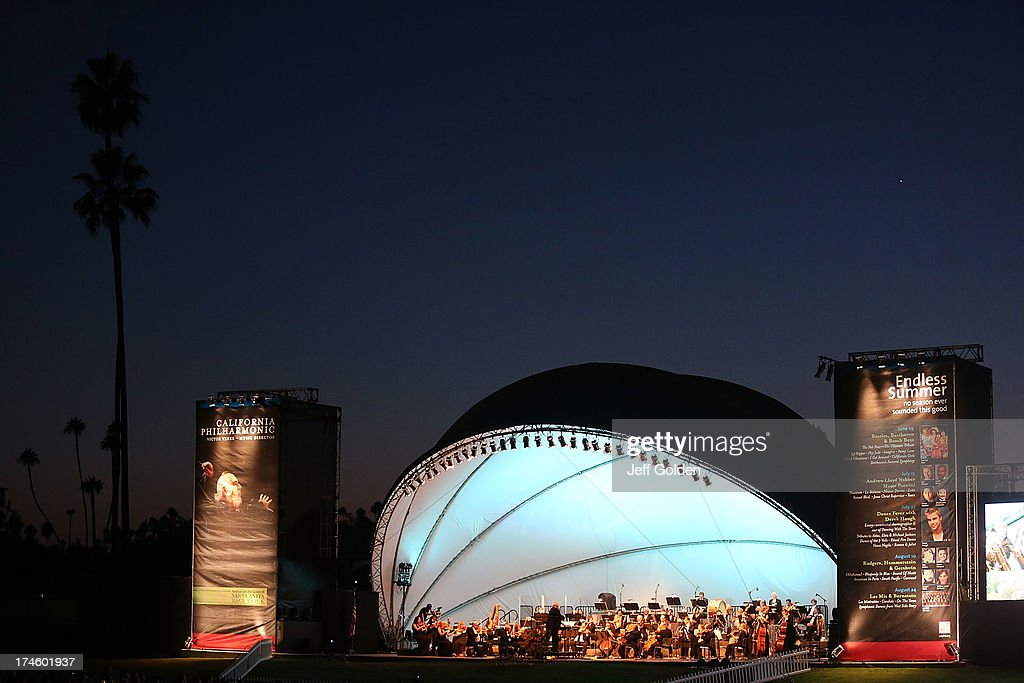 General view at dusk during the California Philharmonic Festival on the Green at Santa Anita Race Track on July 27, 2013 in Arcadia, California.