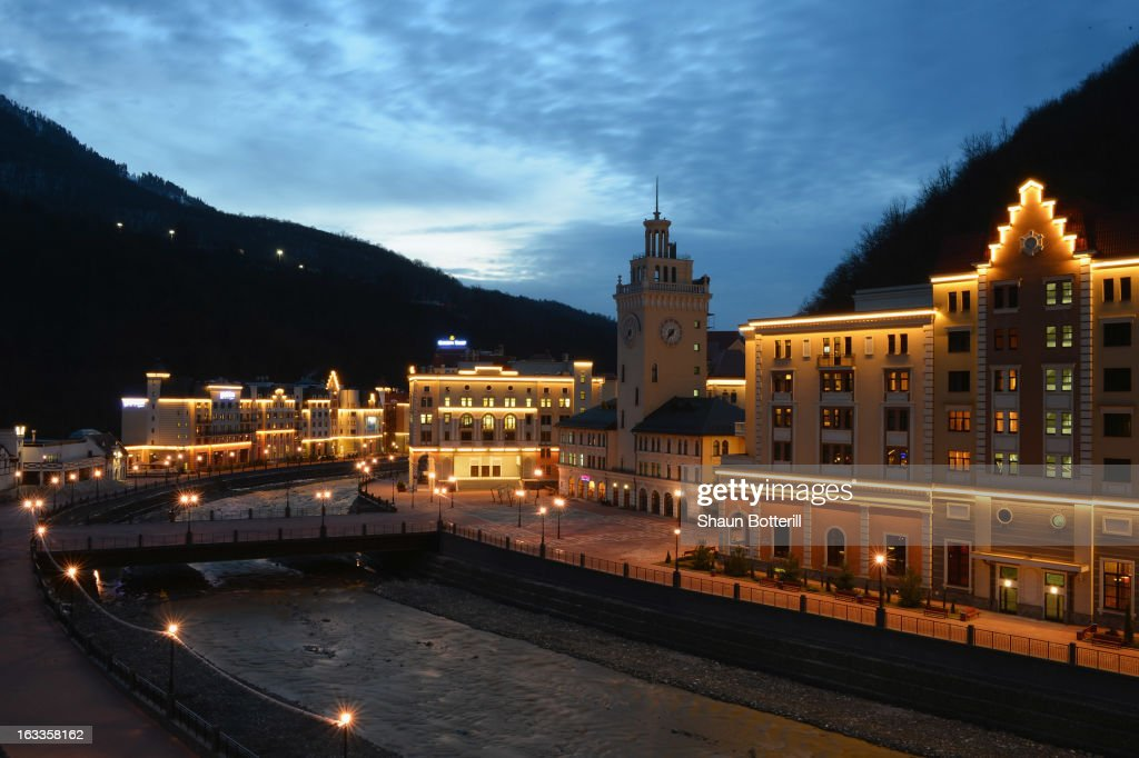 A general view at dusk in Rosa Khutor on March 8, 2013 in Sochi, Russia.