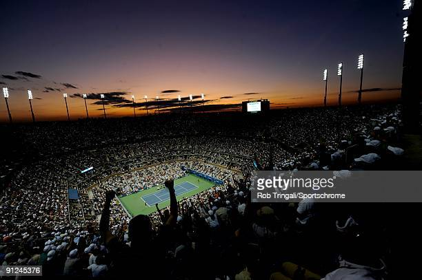 A general view at dusk of Arthur Ashe Stadium during the Men's Singles final between Roger Federer of Switzerland and Juan Martin Del Potro of...