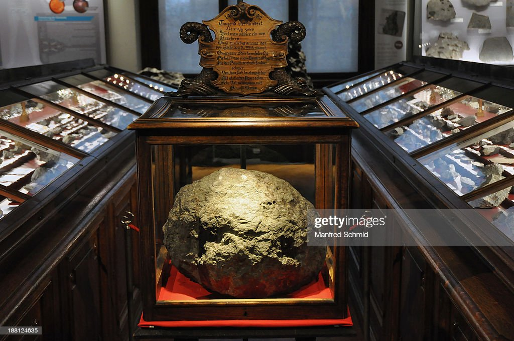 A general view at Ensisheim meteorite during the press conference and exhibition preview at the Natural History Museum on November 15, 2013 in Vienna, Austria. The Ensisheim meteorite is a stony meteorite observed to fall on November 7, 1492