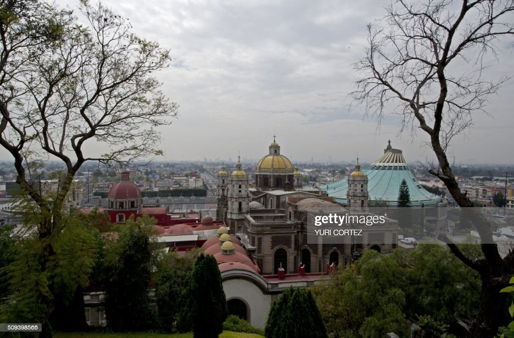 General view at 'La Villa' or Basilica de Guadalupe complex where Pope Francis is due to give an open mass-- in Mexico City on February 10, 2016. Pope Francis will visit four Mexican states from next February 12 to 17. AFP PHOTO / YURI CORTEZ / AFP / YURI CORTEZ
