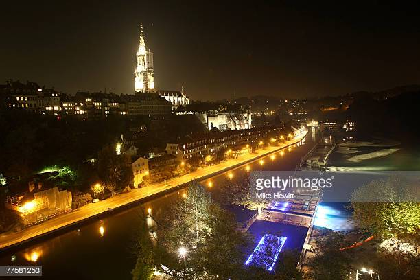 General view at night of the city of Bern Switzerland on October 17 2007 in Bern Switzerland