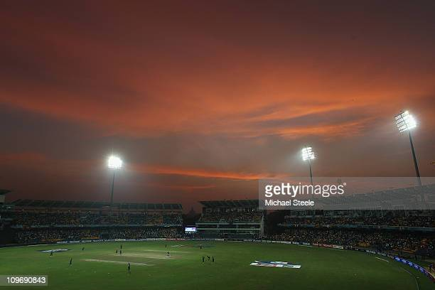 General view at sunset during the Kenya v Sri Lanka 2011 ICC World Cup Group A match at the R Premadasa Stadium on March 1 2011 in Colombo Sri Lanka