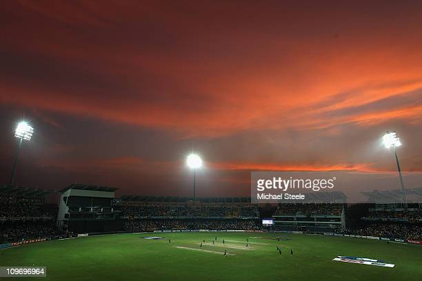 A general view at sunset during the Kenya v Sri Lanka 2011 ICC World Cup Group A match at the R Premadasa Stadium on March 1 2011 in Colombo Sri Lanka