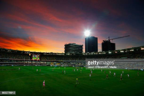General view at sunset during the round 14 AFL match between the Brisbane Lions and the Greater Western Sydney Giants at The Gabba on June 24 2017 in...