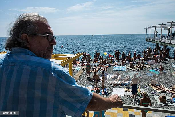 A general view at the beach on August 11 2015 in Yalta Crimea Russian President Vladimir Putin signed a bill in March 2014 to annexe the Crimean...