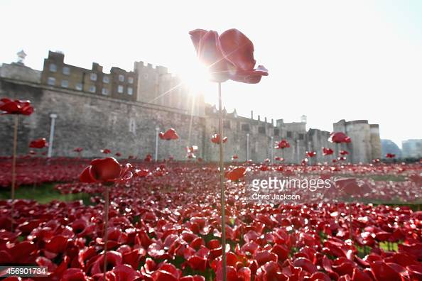 A general view at the Blood Swept Lands and Seas of Red evolving art installation at the Tower of London on October 9 2014 in London England Mr...