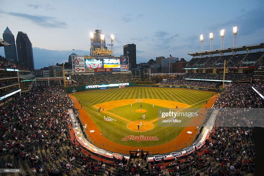 General view at the end of the game between the Cleveland Indians and the New York Yankees on opening day at Progressive Field on April 8, 2013 in Cleveland, Ohio.