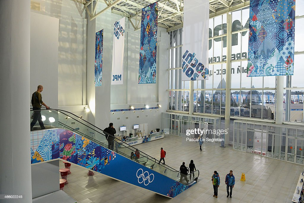 A general view at the entrance of the Main Press Centre prior to the Sochi 2014 Winter Olympics at the Olympic Park on January 31 2014 in Sochi Russia