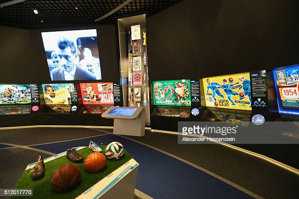 General view at the exhibition hall of the FIFA World Football Museum on January 12 2016 in Zurich Switzerland