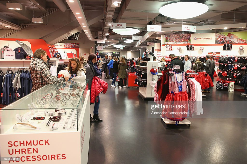 general view at the fc bayern muenchen megastore fanshop at allianz arena on november 23 2014. Black Bedroom Furniture Sets. Home Design Ideas