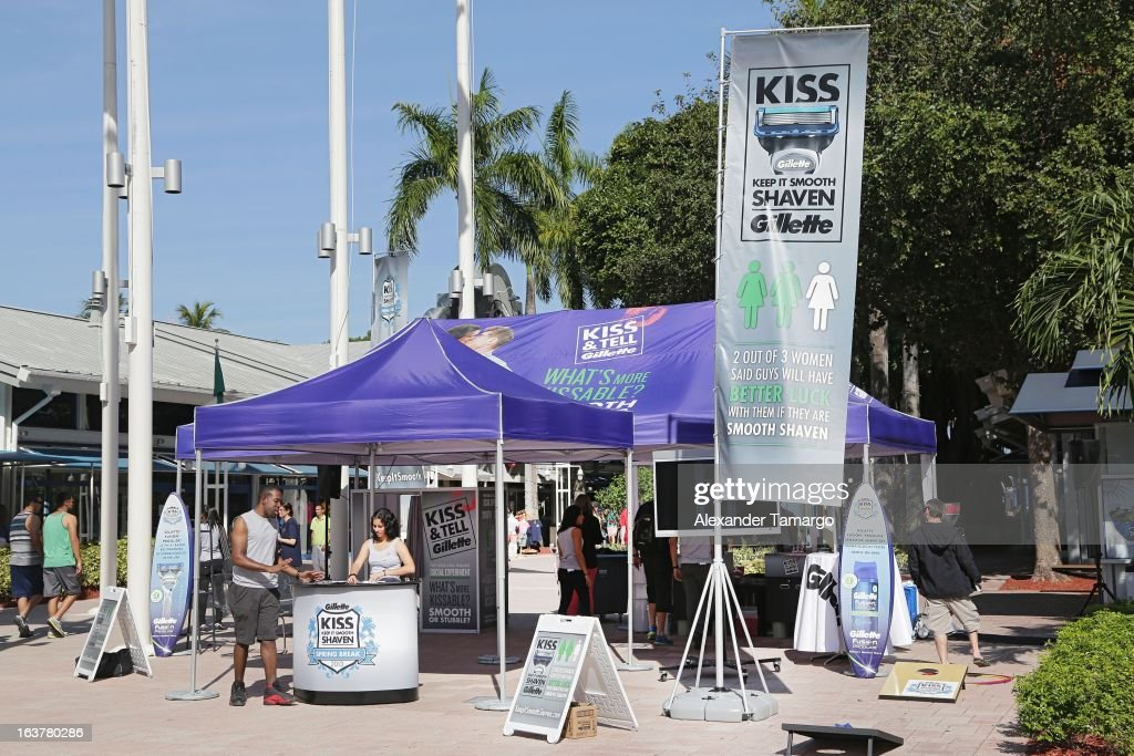 General view at the Gillette Spring Break tour tent in Miami at Bayside Marketplace on March 15, 2013 in Miami, Florida.