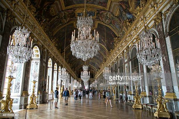 A general view at the hall of mirrors of the 'Chateau de Versailles' on July 1 2014 in Versailles France