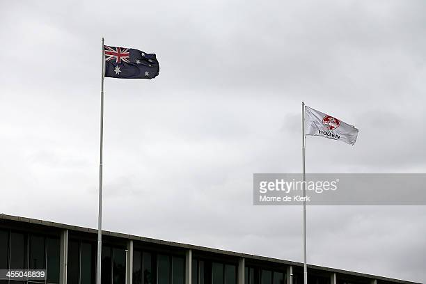 A general view at the Holden manufacturing facility in Elizabeth shows the Australian flag and the Holden flag on December on December 11 2013 in...