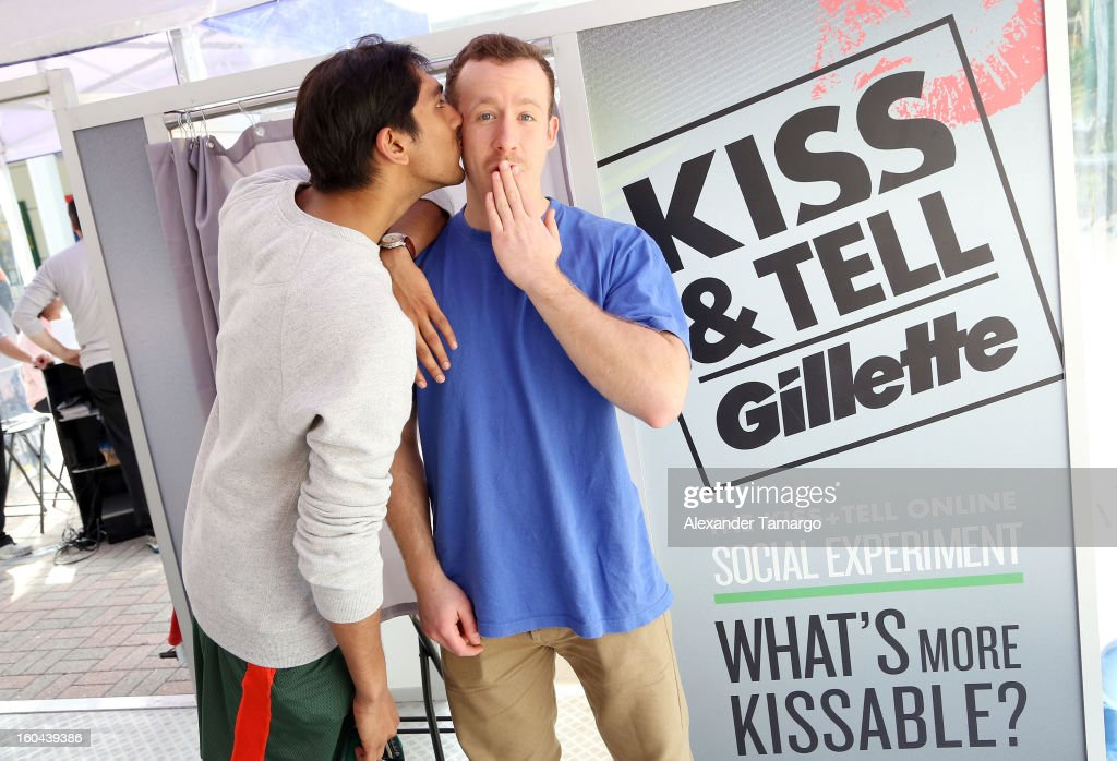 General view at the Kiss & Tell tent where local Miami couples take part in the national Gillette Kiss & Tell Live Experiment at The University of Miami to determine which kiss is the best: a kiss with stubble or smooth shaven skin. at University of Miami on January 31, 2013 in Miami, Florida.