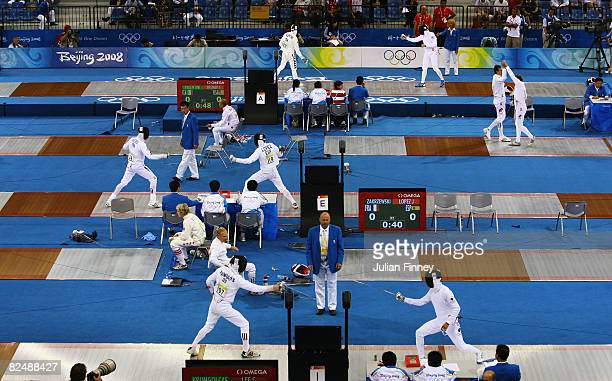 A general view at the Men's Fencing Epee One Touch held at the Fencing Hall during Day 13 of the Beijing 2008 Olympic Games on August 21 2008 in...