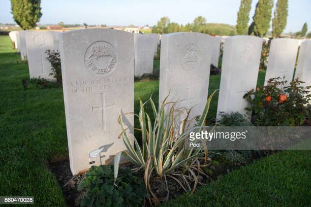 A general view at the New Zealand Memorial Wall to the Missing during the Commemoration for the Battle of Passchendaele at Tyne Cot Cemetery on...