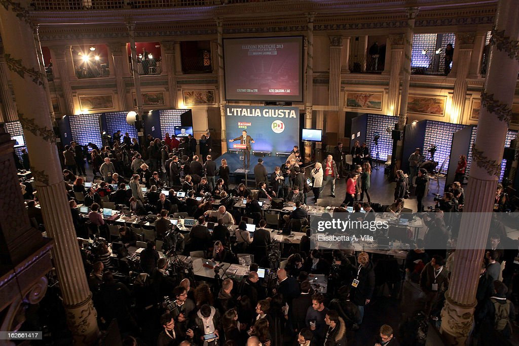 A general view at the PD headquarters on February 25, 2013 in Rome, Italy. Election polls showed Pier Luigi Bersani's centre-left alliance to be a few points ahead of the centre-right coalition lead by Silvio Berlusconi and Movimento 5 Stelle (Five Stars Movement) to settle at the third place both at the Chamber of Deputies and at the Senate.