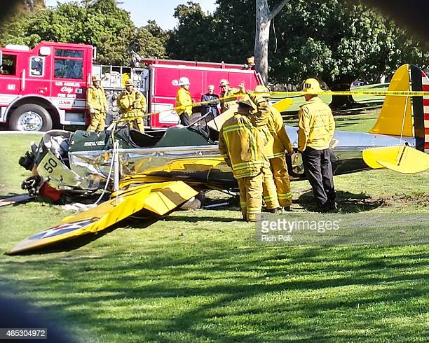 A general view at the Penmar Golf Course after a singleengine plane piloted by actor Harrison Ford crashed on March 5 2015 in Venice California Ford...