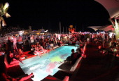 A general view at the Red Bull Racing 24 Hour Paddock People Party on the Red Bull Energy Station during the Monaco Formula One Grand Prix at the...
