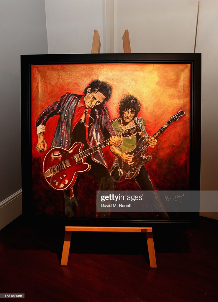 A general view at the Ronnie Wood Raw Instinct Exhibition Summer Party at Castle Fine Art on July 9, 2013 in London, England.