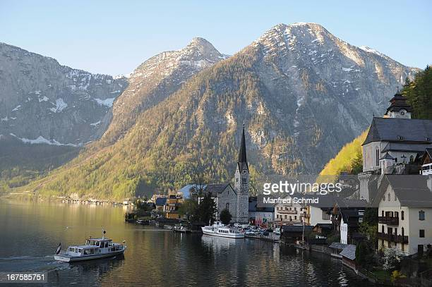 A general view at the small town Hallstatt before a press conference f for the oldest known wooden staircase which leads to a salt mine on on April...