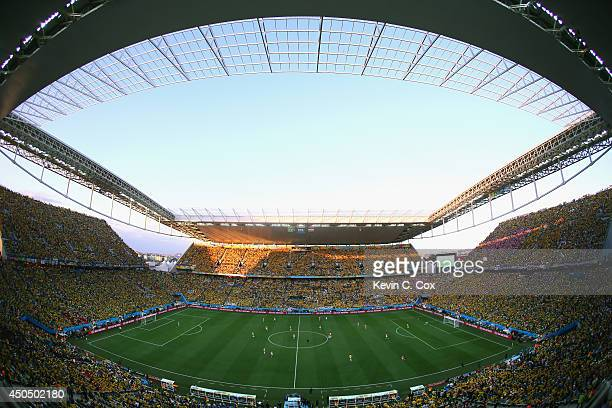 A general view at the start of the 2014 FIFA World Cup Brazil Group A match between Brazil and Croatia at Arena de Sao Paulo on June 12 2014 in Sao...
