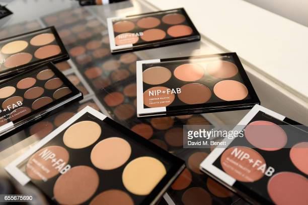 A general view at the the Mario Dedivanovic Maria Hatzistefanis launch of NIPFAB Makeup with model Chloe Lloyd on March 20 2017 in London England