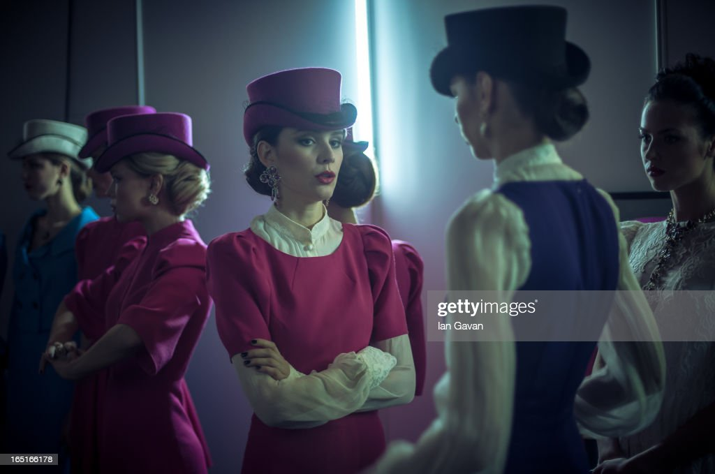 A general view at the 'Video Look Book' event presented by Moscow Art Industrial Institu Models prepare backstage at the Mari Axel show during Mercedes-Benz Fashion Week Russia Fall/Winter 2013/2014 at Manege on March 31, 2013 in Moscow, Russia.