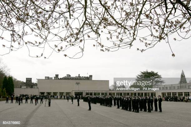 A general view at Tulliallan police college showing the latest batch of new recruits during their passing out parade