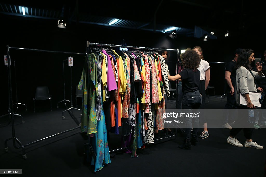General view backstage ahead of the Anja Gockel show during the Mercedes-Benz Fashion Week Berlin Spring/Summer 2017 at Erika Hess Eisstadion on June 29, 2016 in Berlin, Germany.