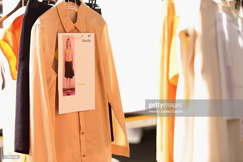 A general view backstage ahead of the Dietrich Emter Show during the Mercedes-Benz Fashion Week Spring/Summer 2014 at Brandenburg Gate on July 4, 2013 in Berlin, Germany