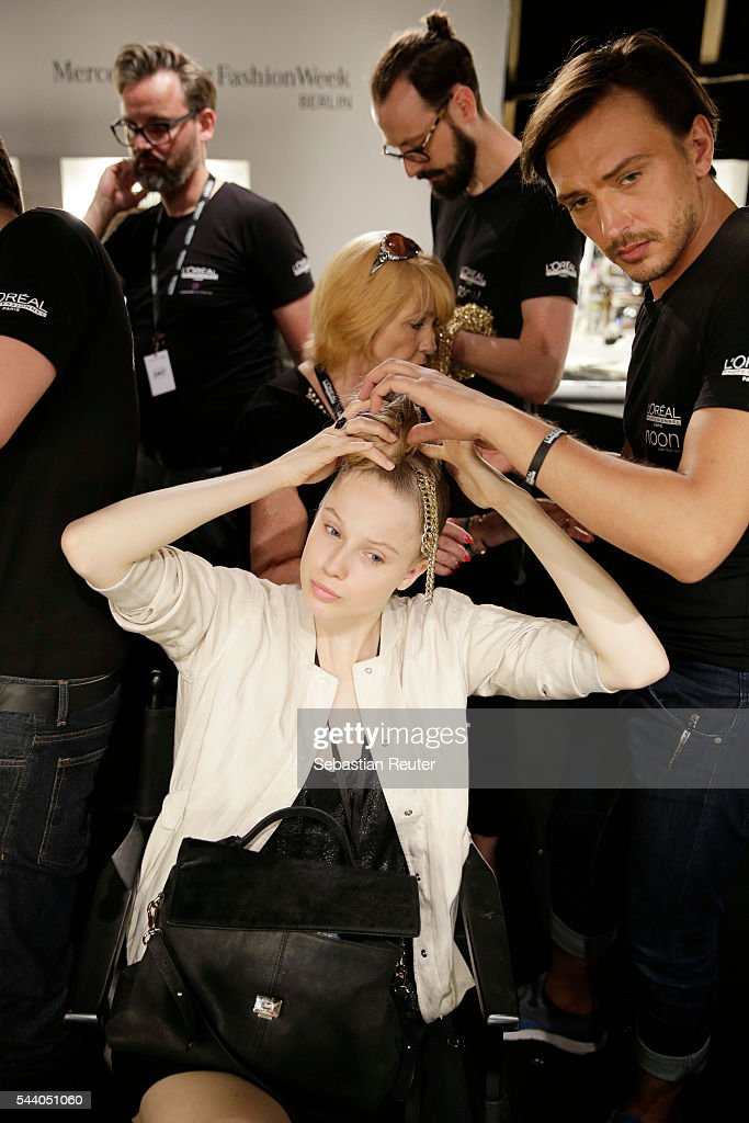 General view backstage ahead of the Irene Luft show during the Mercedes-Benz Fashion Week Berlin Spring/Summer 2017 at Erika Hess Eisstadion on July 1, 2016 in Berlin, Germany.