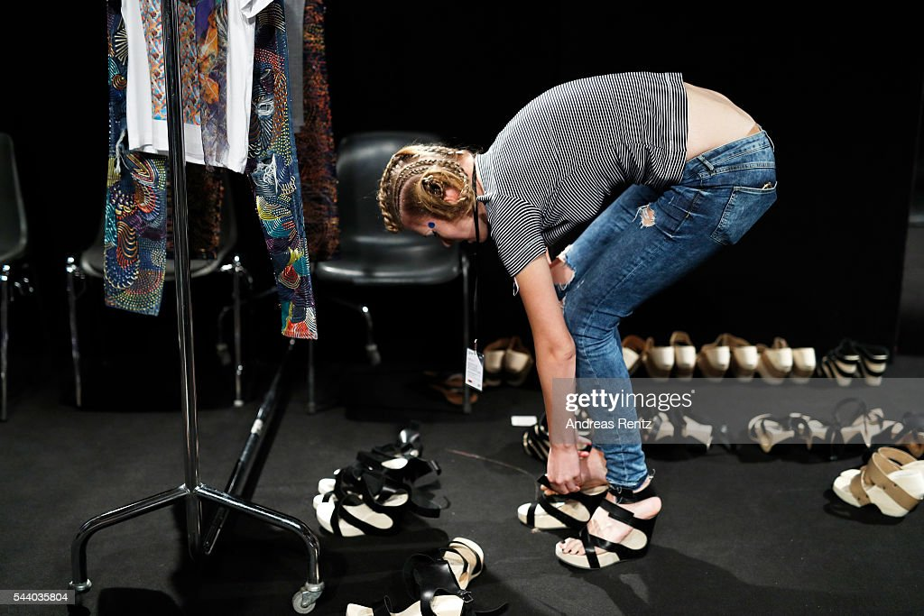 General view backstage ahead of the Jeans For Refugees By Johny Dar show during the Mercedes-Benz Fashion Week Berlin Spring/Summer 2017 at Erika Hess Eisstadion on July 1, 2016 in Berlin, Germany.