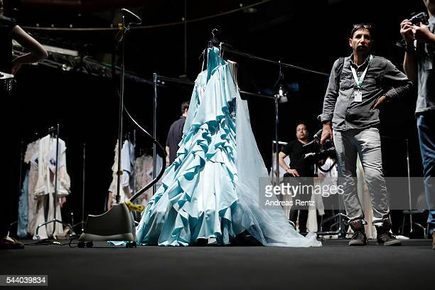 General view backstage ahead of the Lana Mueller show during the MercedesBenz Fashion Week Berlin Spring/Summer 2017 at Erika Hess Eisstadion on July...