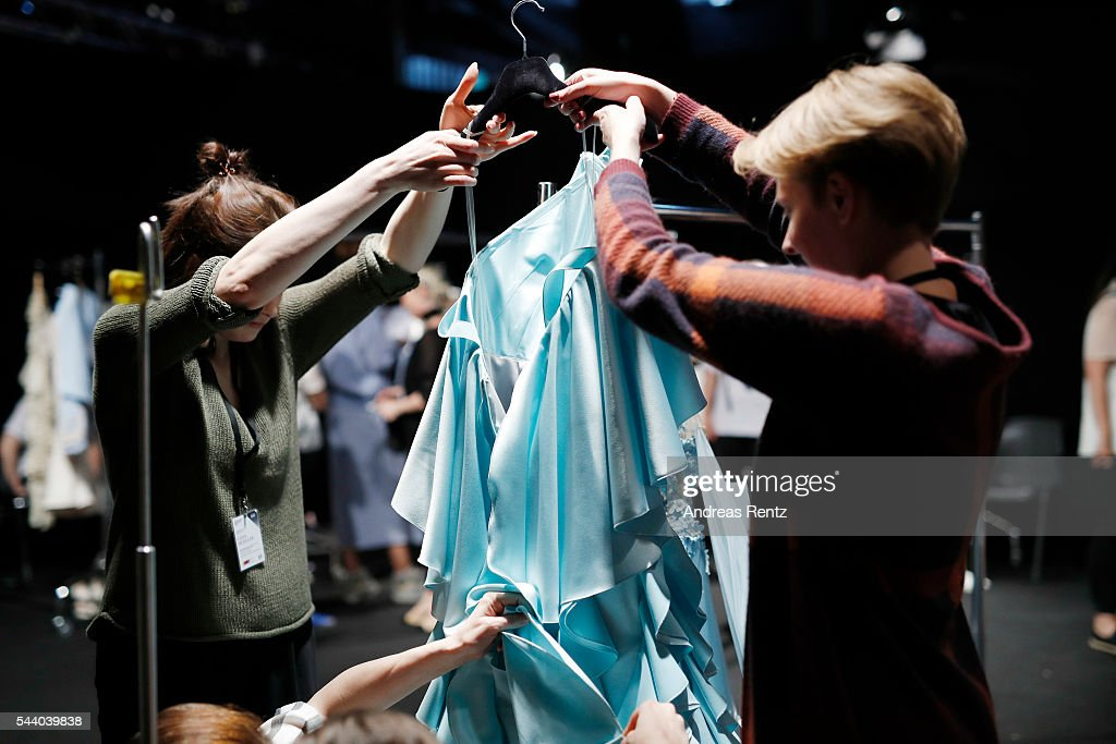 General view backstage ahead of the Lana Mueller show during the Mercedes-Benz Fashion Week Berlin Spring/Summer 2017 at Erika Hess Eisstadion on July 1, 2016 in Berlin, Germany.