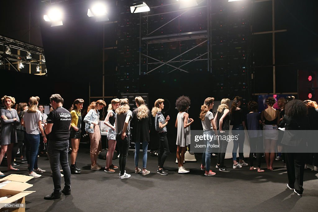 General view backstage ahead of the Thomas Hanisch show during the Mercedes-Benz Fashion Week Berlin Spring/Summer 2017 at Erika Hess Eisstadion on June 28, 2016 in Berlin, Germany.